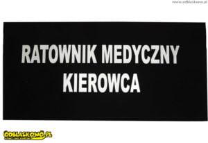 Naszywki odblaskowe czarne z napisem ratownik medyczny kierowca