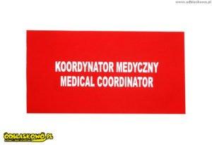 Naszywki odblaskowe czerwona koordynator medyczny medical coordinator