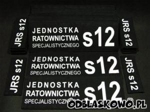 Naszywki odblaskowe czarne tło flex jednostka ratownictwa s12