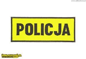 Naszywki odblaskowe napis policja żółte tło