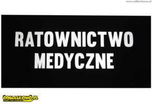 Naszywki odblaskowe napis ratownictwo medyczne czarne tło