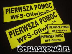 Naszywki odblaskowe pierwsza pomoc Gliwice na żółtym tle