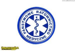Naszywki odblaskowe w kółku z napisem państwowe ratownictwo medyczne