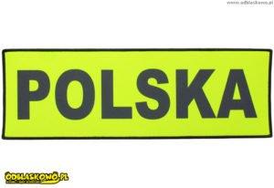 Naszywki odblaskowe z napisem na żółtym tle polska