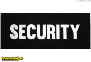 Naszywki odblaskowe z napisem security na tle czarnym