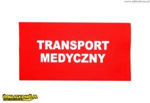 Naszywki odblaskowe z napisem transport medyczny na czerwonym tle