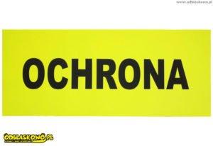 Naszywki odblaskowe żółte tło napis ochrona
