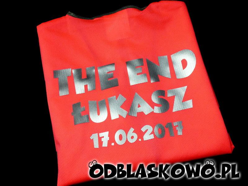 Odblaskowa kamizelka z napisem the end Łukasz