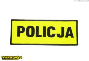 Odblaskowa naszywka policja czarny flex na żółtym