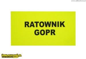 Odblaskowe emblematy z czarnym flexem ratownik gopr na żółtym tle