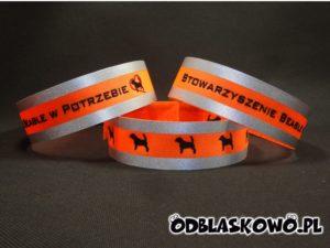 Opaska odblaskowa pomarańczowa haft beagle w potrzebie
