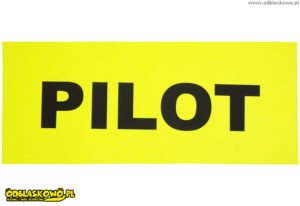 Pilot napis żółta naszywka odblaskowa