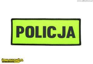 Policja na naszywce odblask żółte tło