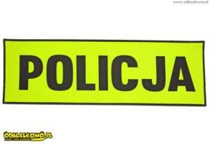 Policja na żółtym tle odblaskowa
