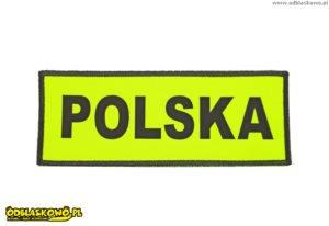 Polska na emblemacie odblaskowym koloru żółtego