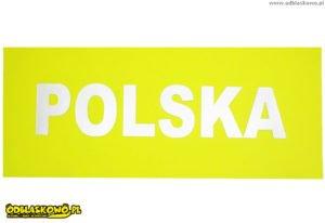 Polska na naszywce odblaskowej koloru żółtego