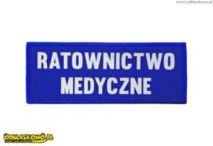 Ratownictwo medyczne napis odblaskowy na niebieskim tle