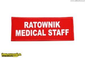 Ratownik medical staff na czerwonej naszywce odblaskowej