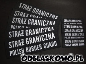 Wszywki czarne odblaskowe z napisem straż graniczna